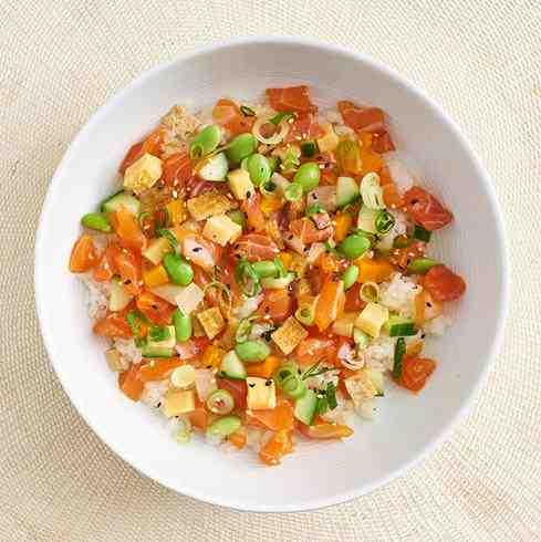 (New) Salmon and Egg Chirashi Sushi (Japanese Poke Bowl)